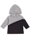 Gray & Black Hooded Long-Sleeved Tee