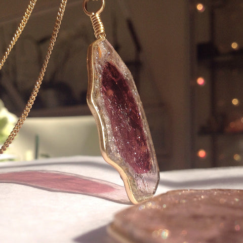 Venusrox Pendant Collection Pink Tourmaline Slice
