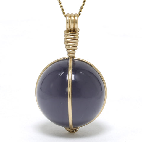 Blue Quartz (Dumortierite) Sphere Pendant from Brazil | Venusrox