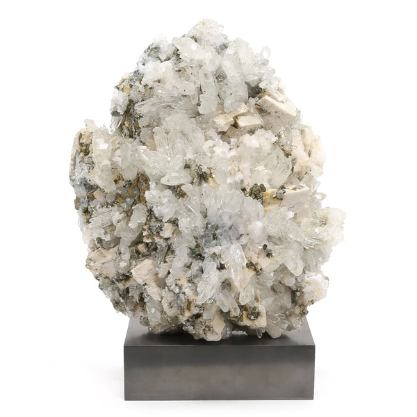 Clear Quartz with Dolomite and Pyrite Natural Cluster from Kosovo mounted on a bespoke stand | Venusrox