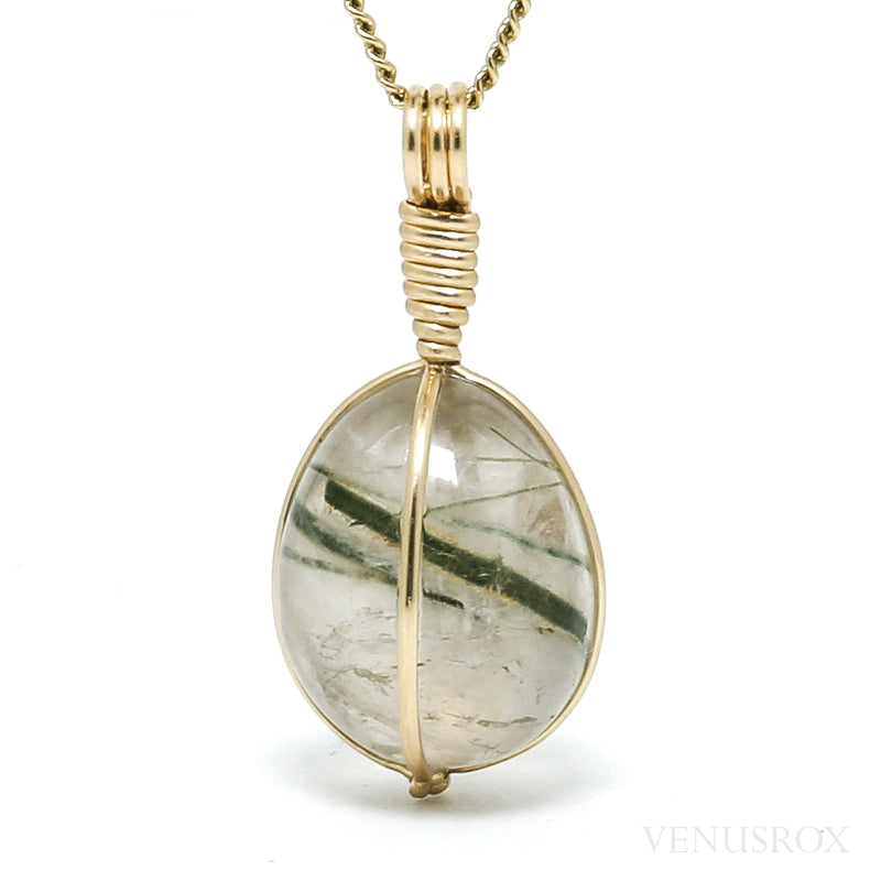 Green Tourmaline in Quartz Polished Crystal Pendant from Madagascar | Venusrox
