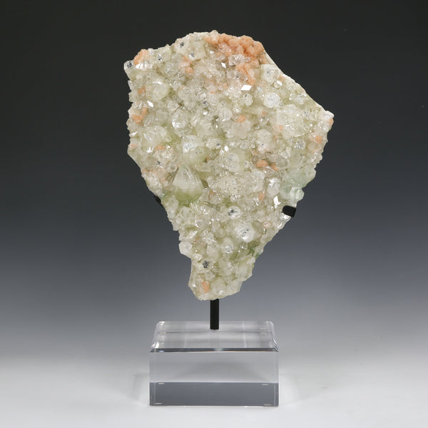 Green Apophyllite with Stilbite Natural Cluster from India mounted on a bespoke stand | Venusrox