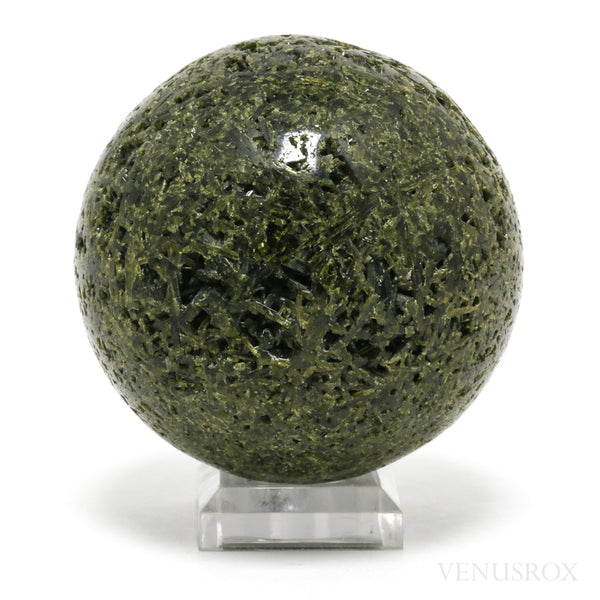 Epidote Part Polished/Part Natural Sphere from Peru | Venusrox