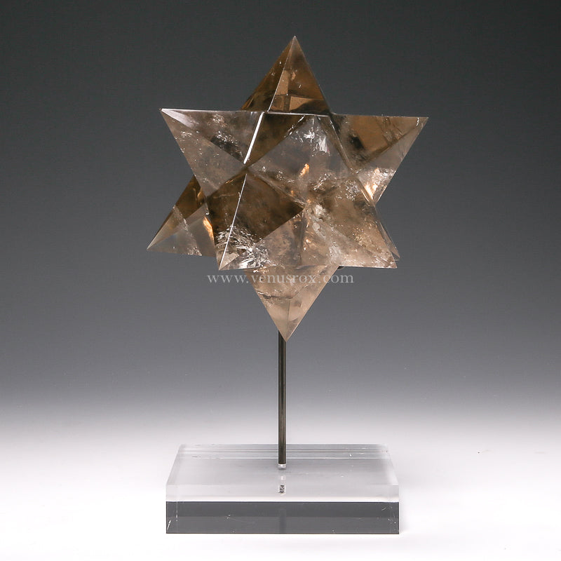 Smoky Quartz Polished Star from Minas Gerais, Brazil, mounted on a bespoke stand | Venusrox