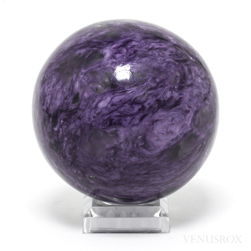 Charoite Polished Sphere from the Chary River area in the Murun Massif, Northwest Aldan, Yakutsk, Russia | Venusrox