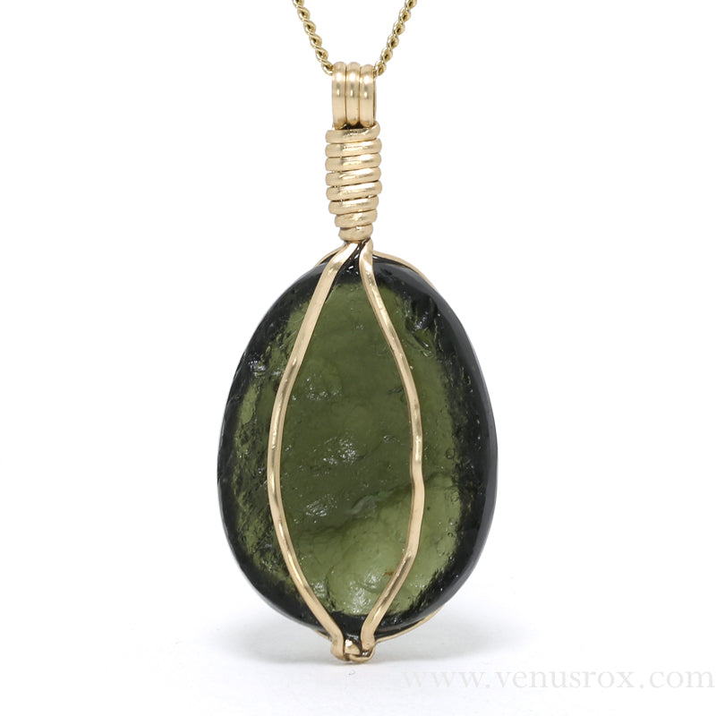 Moldavite Polished/Natural Crystal Pendant from Chlum, Czech Republic | Venusrox