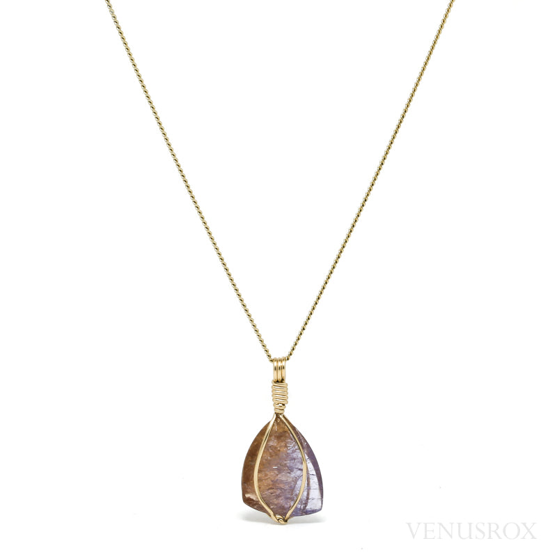 Colour Change Axinite-(MG) Part Polished/Part Natural Crystal Pendant from Tanzania | Venusrox