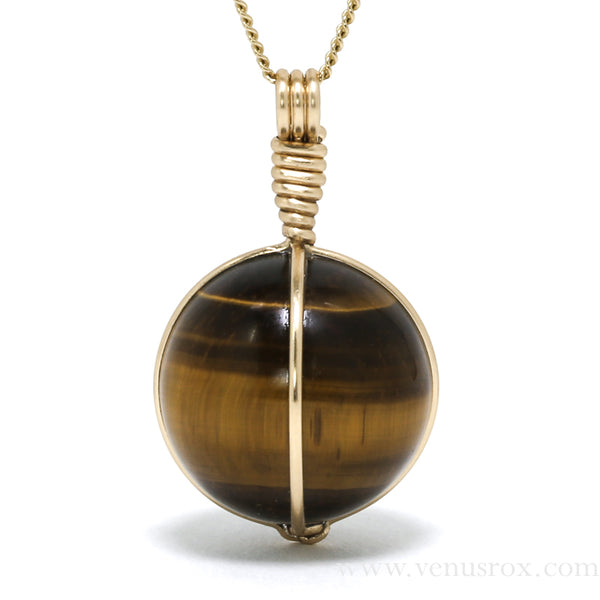Tigers Eye Sphere Pendant from South Africa | Venusrox