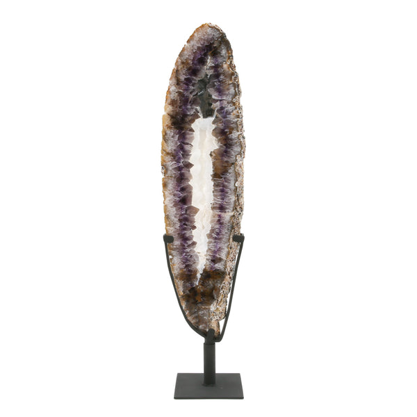 Amethyst with Quartz Part Polished/Part Natural Slice from Brazil mounted on a bespoke stand | Venusrox