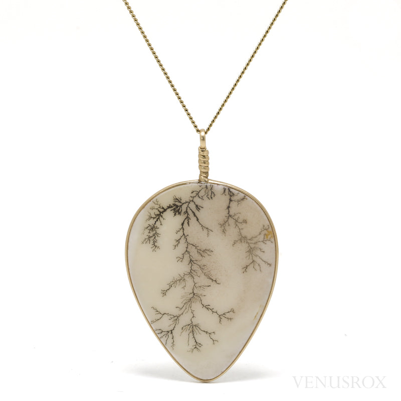 Dendritic Agate Polished Disc Pendant from Narmada River Tributary, West-Central India | Venusrox