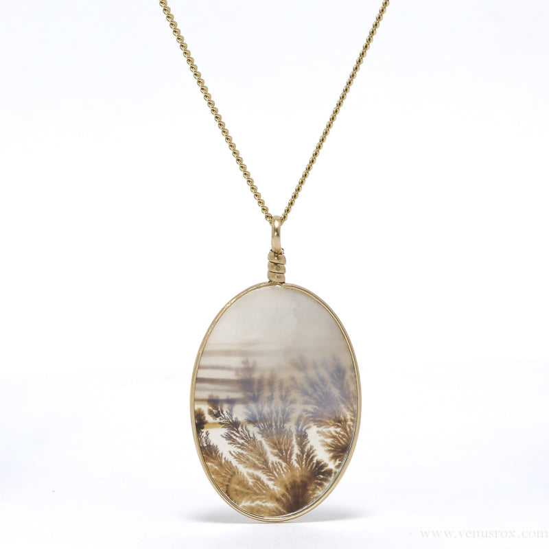 Dendritic Agate Polished Disc Pendant from Central India | Venusrox