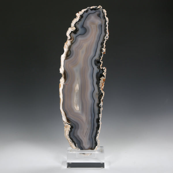 Agate Polished Slice from Brazil mounted on a bespoke stand | Venusrox