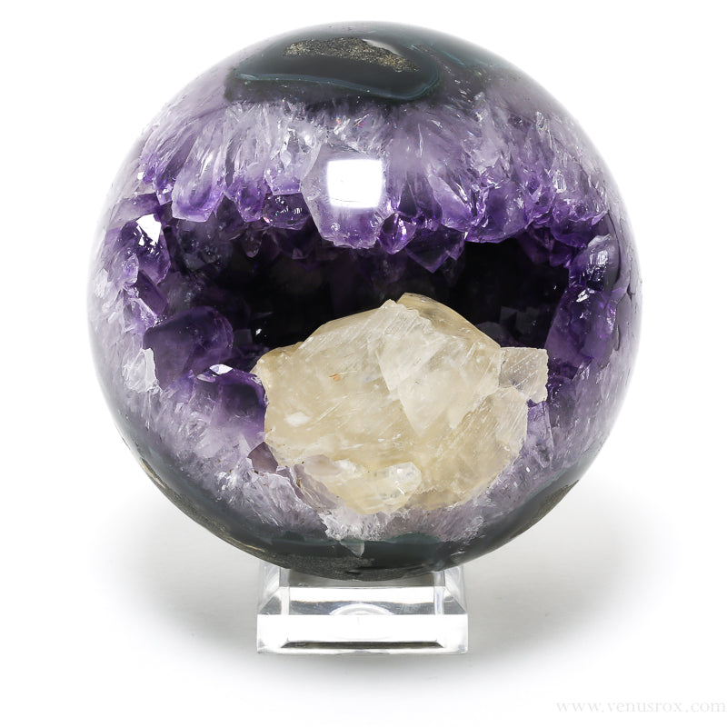 Amethyst with Calcite in Agate Geode Sphere from Brazil | Venusrox