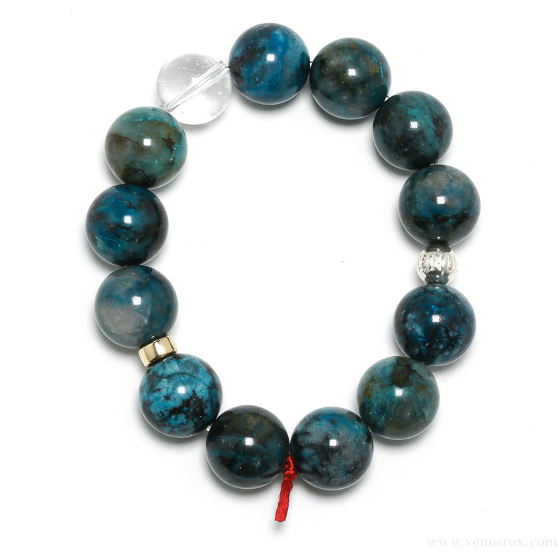 Chrysocolla with Shattuckite & Quartz Bracelet from Peru | Venusrox