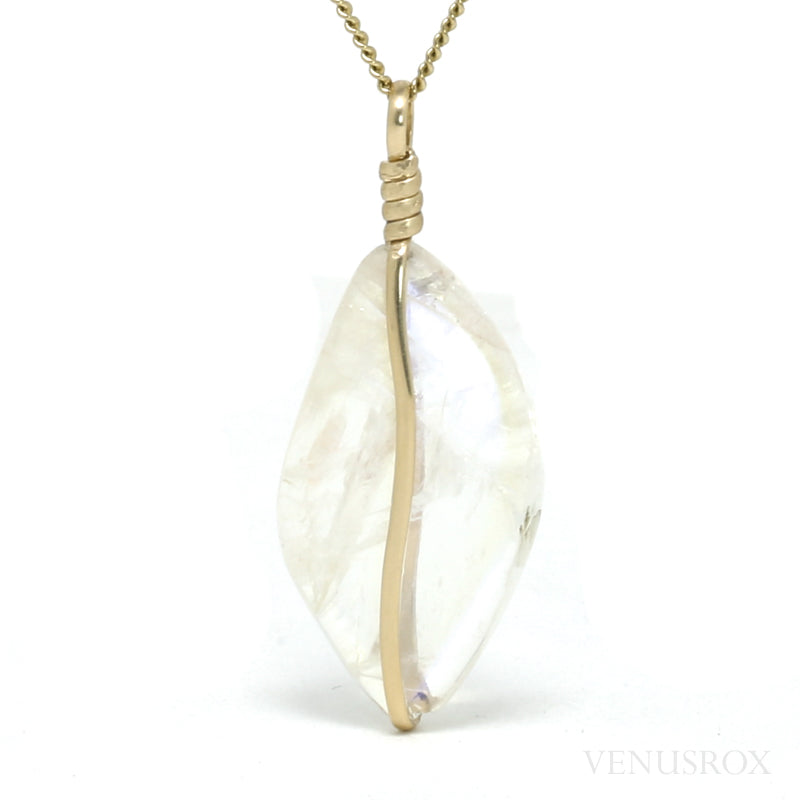 Rainbow Moonstone Polished Crystal Pendant from Chupa, Karelia, Russia | Venusrox