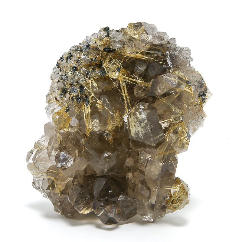 Smoky Quartz with Golden Rutile and Hematite Natural Cluster from Brazil | Venusrox