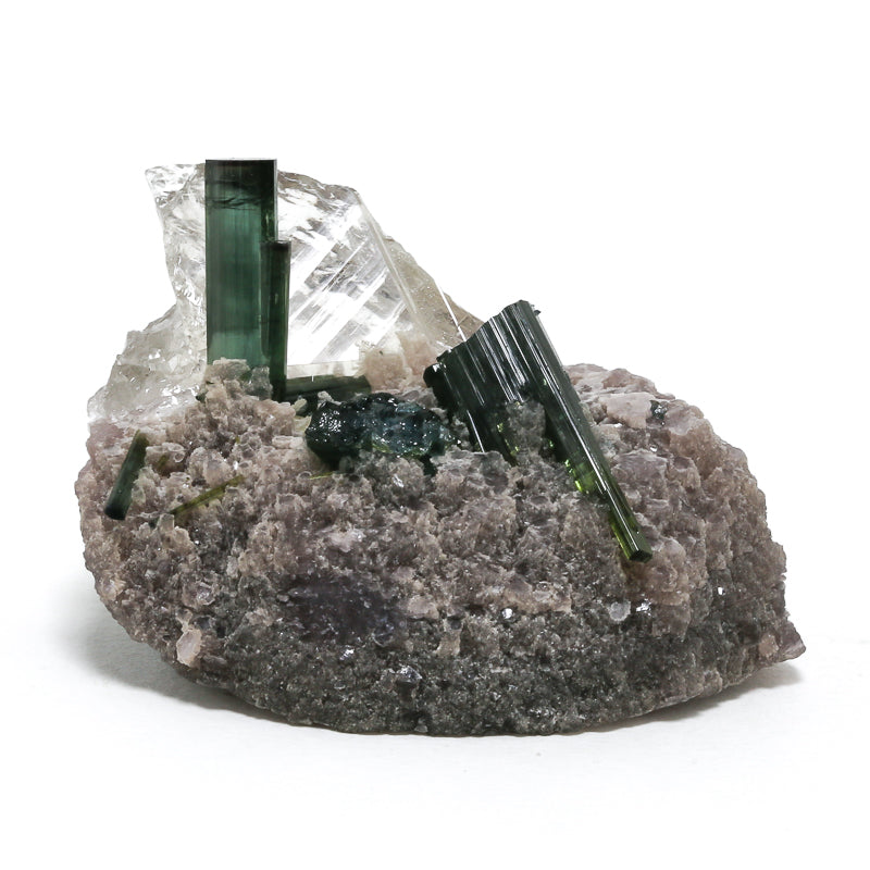 Green Tourmaline with Clear Quartz and Lepidolite Natural Crystal from Brazil | Venusrox
