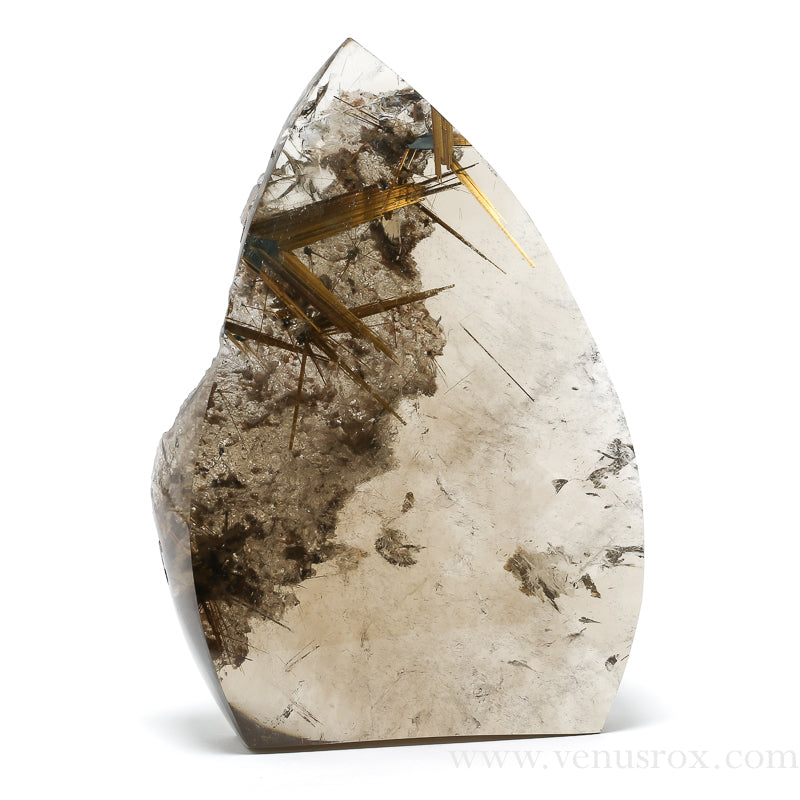 Smoky Quartz with Golden Rutile and Hematite Polished 'Flame' from Brazil | Venusrox