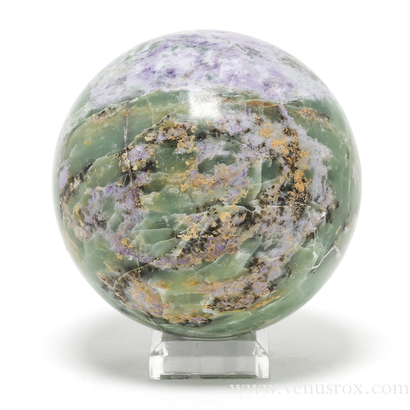 Fluorite in Serpentine Polished Sphere from Peru | Venusrox