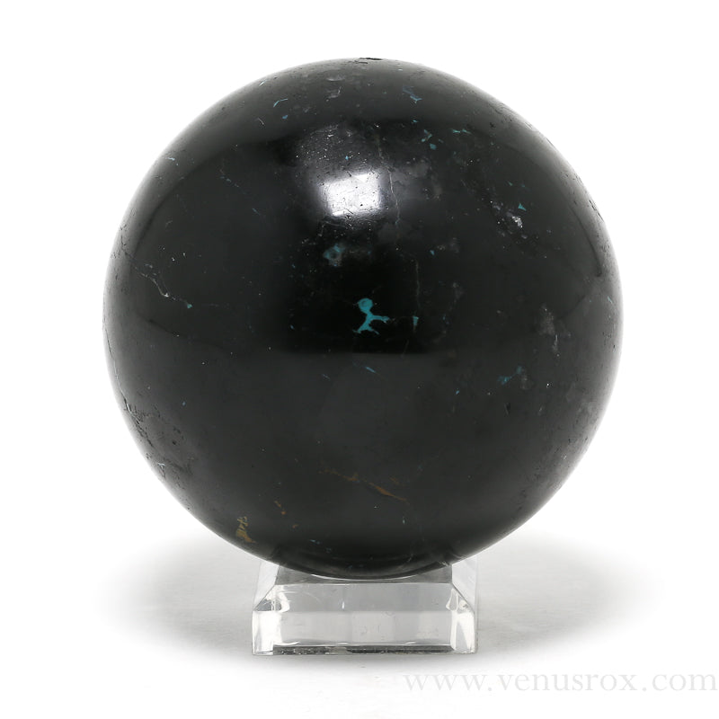 Chrysocolla in Black Tourmaline Polished Sphere from Peru | Venusrox