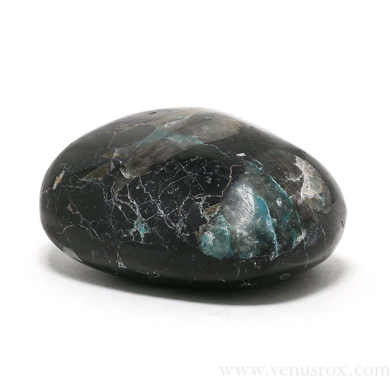 Chrysocolla in Black Tourmaline Polished Crystal from Peru | Venusrox