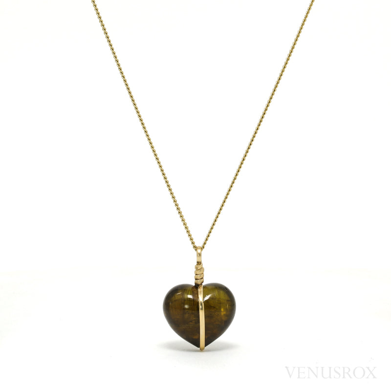 Dravite (Brown) Tourmaline Polished Heart Pendant from Brazil | Venusrox