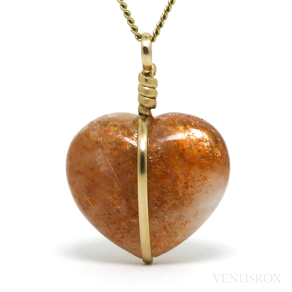 Sunstone Polished Heart Pendant from India | Venusrox