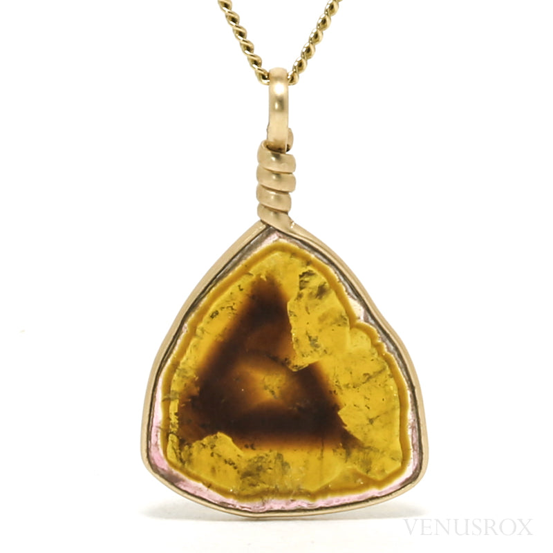 Pink, Brown & Yellow Tourmaline Polished Slice Pendant from Madagascar | Venusrox