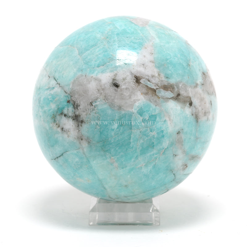 Amazonite With Quartz Polished Sphere from Peru | Venusrox