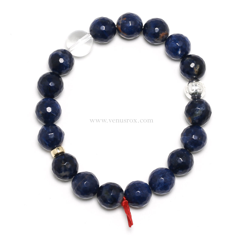 Sodalite with Orange Calcite Bead Bracelet from Brazil | Venusrox
