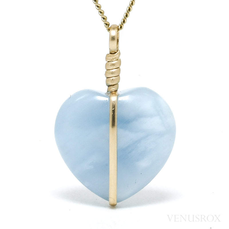 Aquamarine Polished Heart Pendant from Afghanistan | Venusrox
