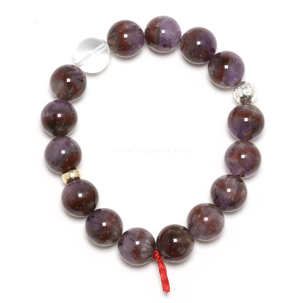 Amethyst with Cacoxenite & Hematite Bead Bracelet from Brazil | Venusrox