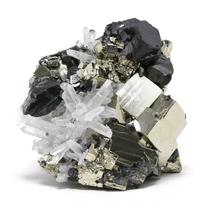 Pyrite, Quartz and Sphalerite Cluster from Huanzala Mine, Huallanca District, Dos de Mayo Province, Huánuco Department, Peru | Venusrox