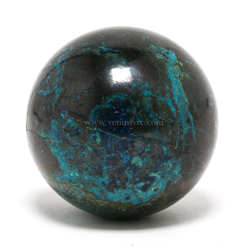Chrysocolla with Shattuckite and Cuprite Polished Sphere from Namibia | Venusrox