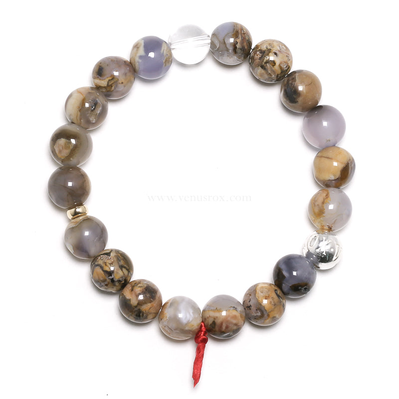 Blue Chalcedony with Matrix Bead Bracelet from Namibia | Venusrox
