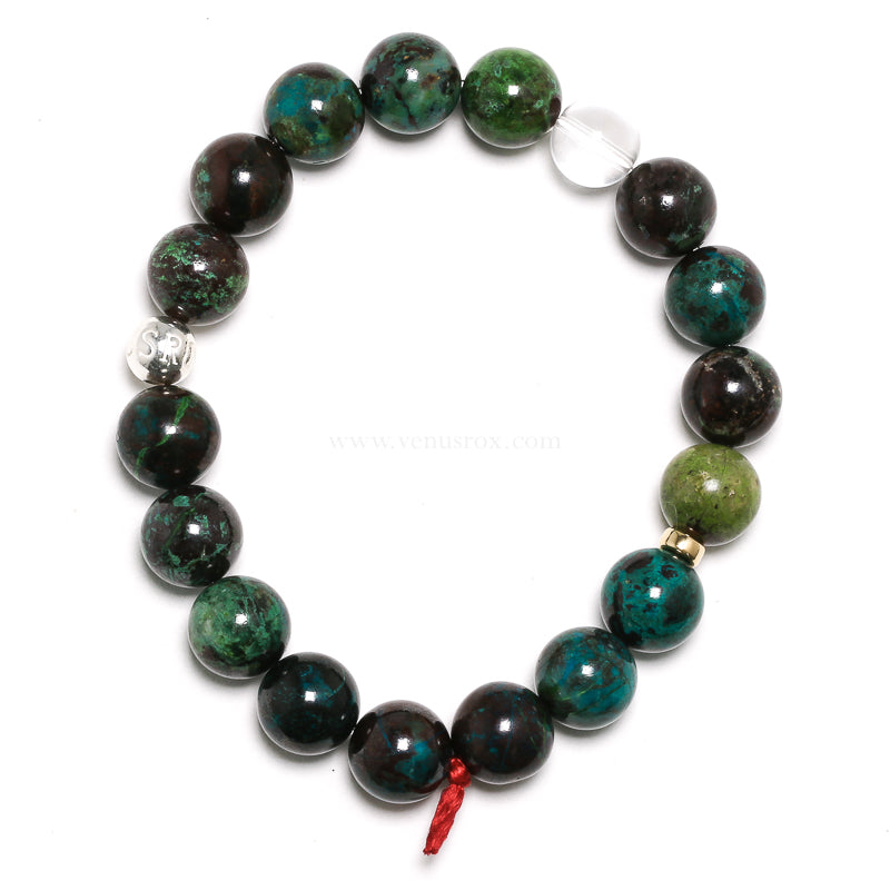 Chrysocolla with Malachite and Cuprite Bracelet from Peru | Venusrox