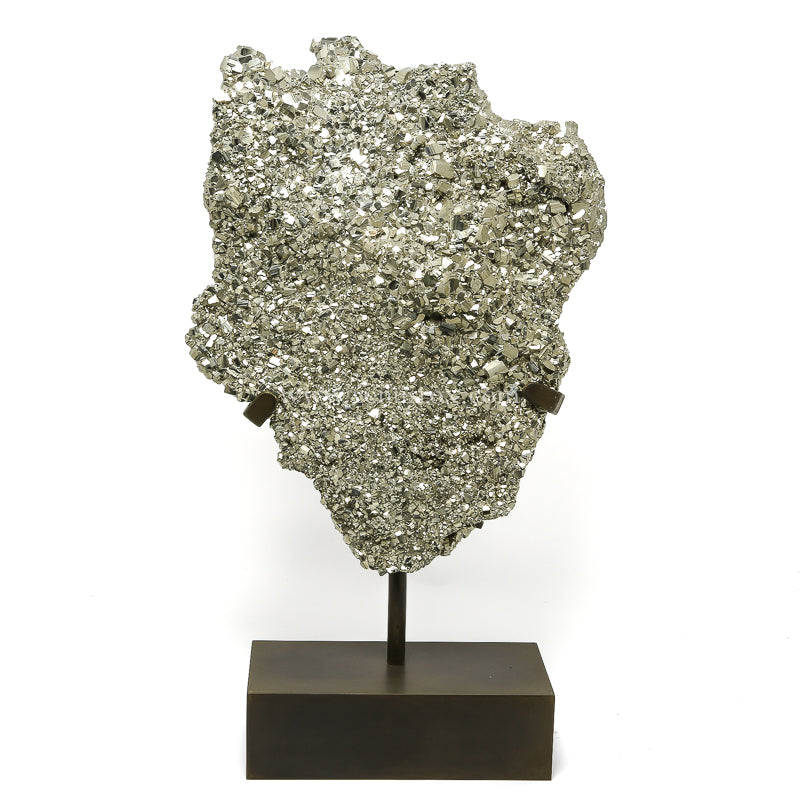 Pyrite Natural Cluster from the Huanzala Mine, Huallanca District, Huanuco Department, Peru, mounted on a bespoke stand | Venusrox
