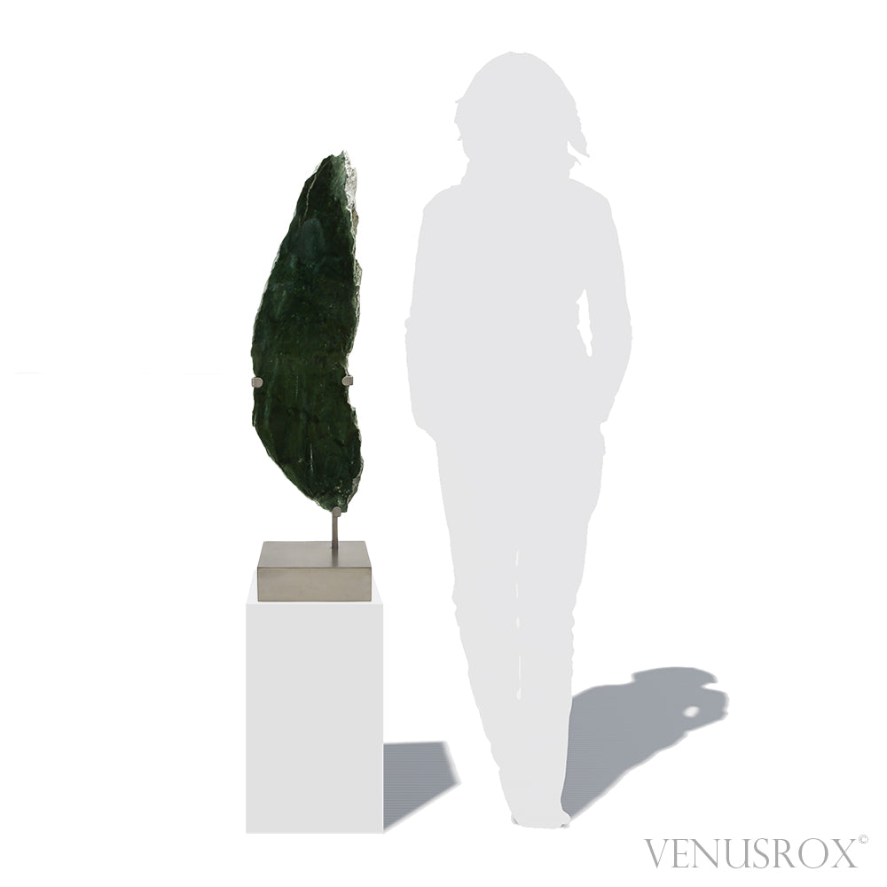 Green Nephrite Jade Polished/Natural Slice from Afghanistan mounted on a bespoke stand | Venusrox