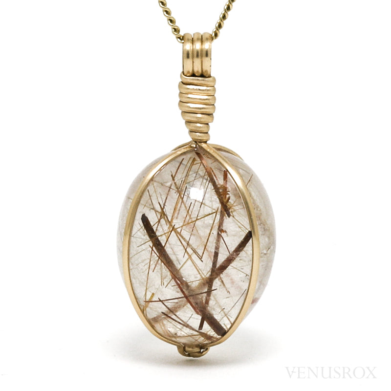 Rutilated Quartz Polished Crystal Pendant from Madagascar | Venusrox