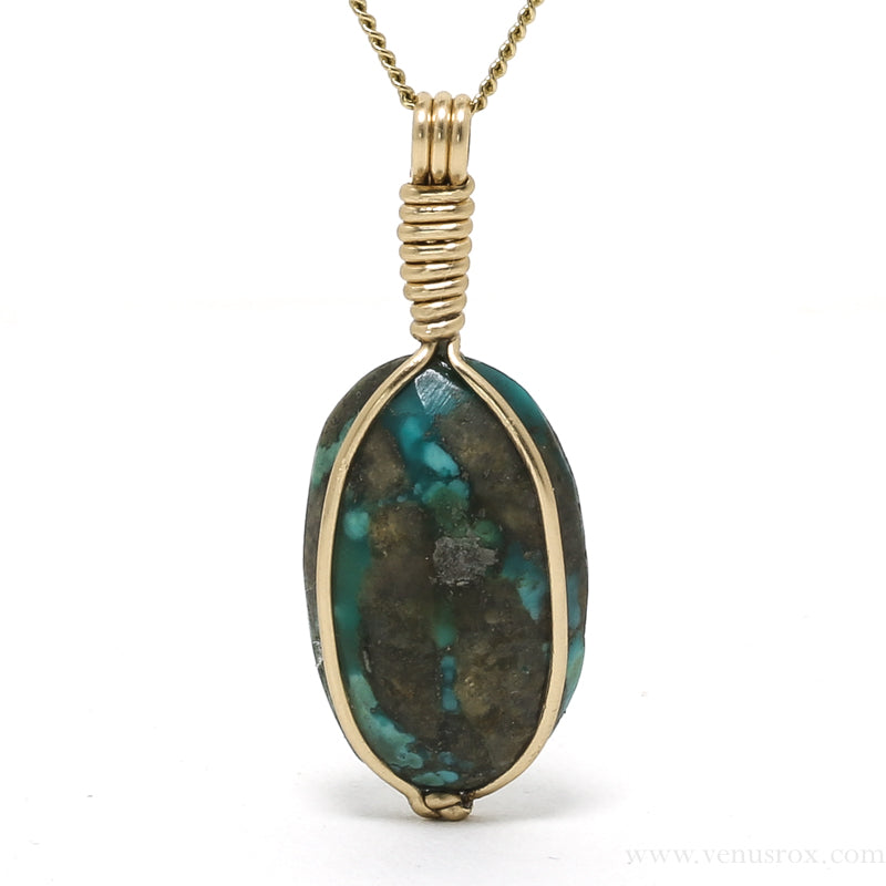 Turquoise with Pyrite Polished Crystal Pendant from Iran | Venusrox