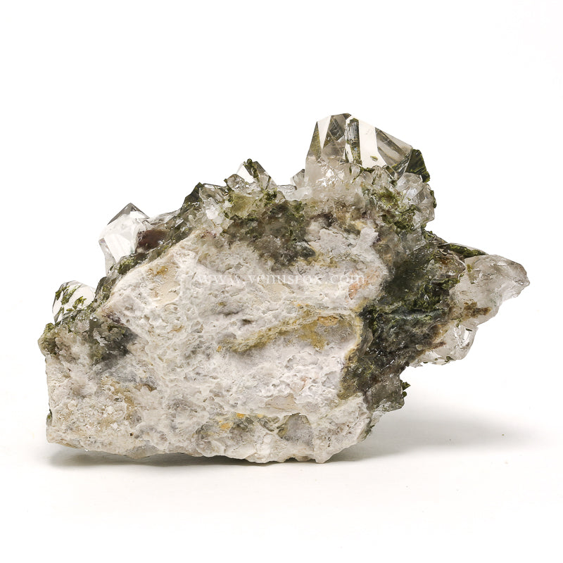 Quartz (Clear) with Epidote on Matrix Natural Cluster