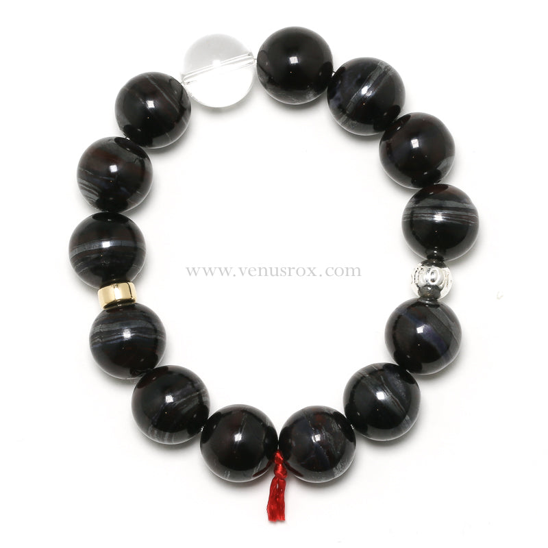 Bustamite & Richterite in Manganese Bead Bracelet from South Africa | Venusrox