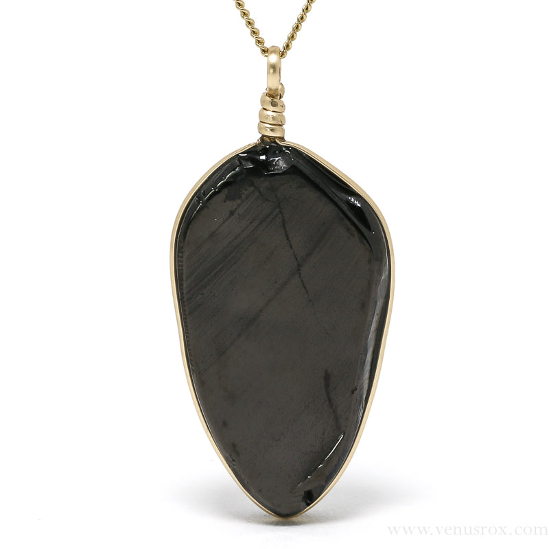 Elite/Grade 1 Shungite Part Polished Crystal Pendant from Karelia, Russia | Venusrox