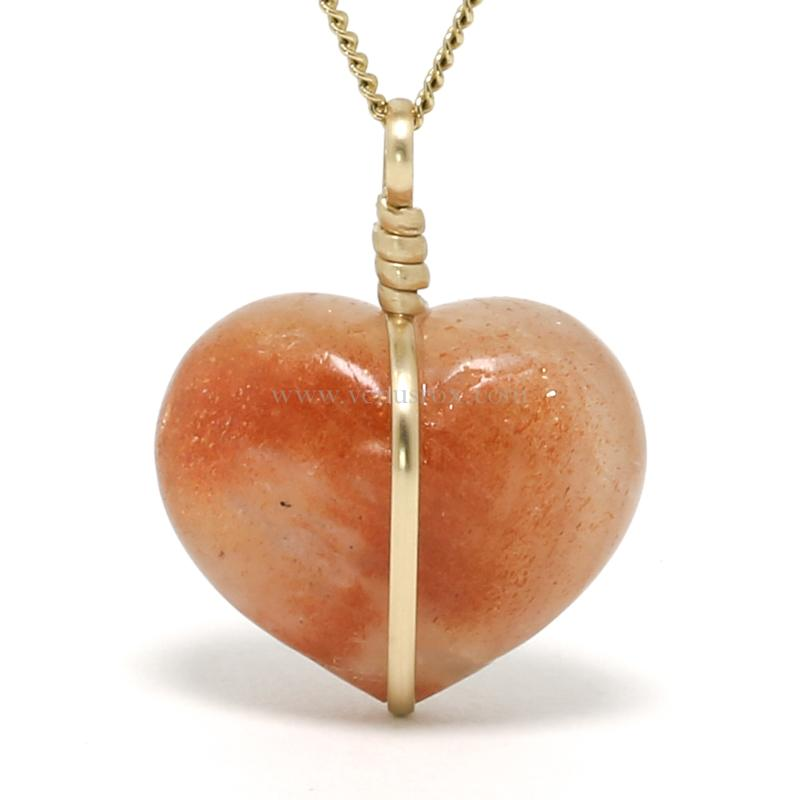 Sunstone Polished Heart Pendant from Tanzania | Venusrox