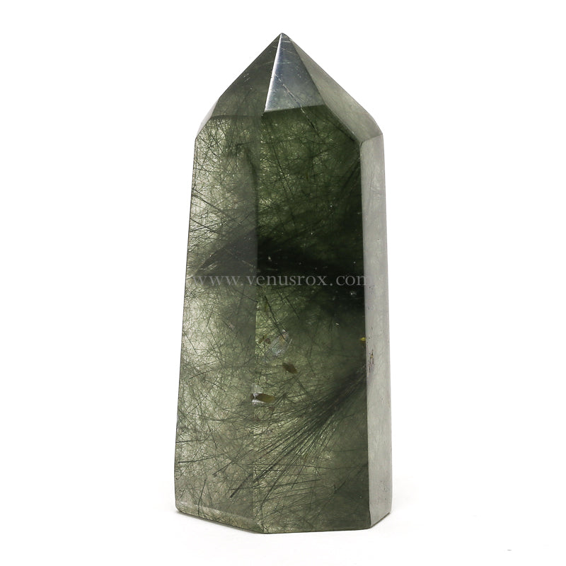 Epidote in Quartz Polished Point from Madagascar | Venusrox