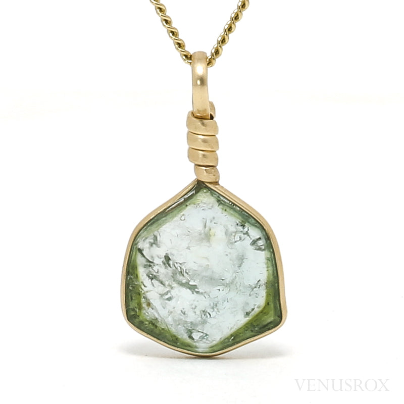 Green & Blue Tourmaline Polished Slice Pendant from Mozambique | Venusrox