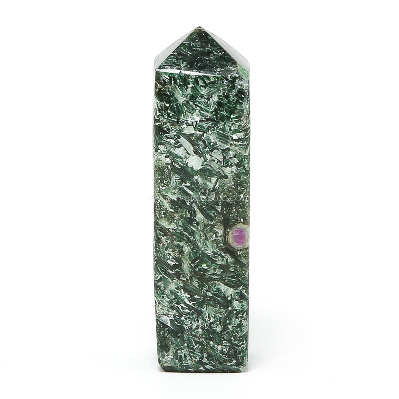 Ruby and Fuchsite Polished Point from Karnataka, India | Venusrox