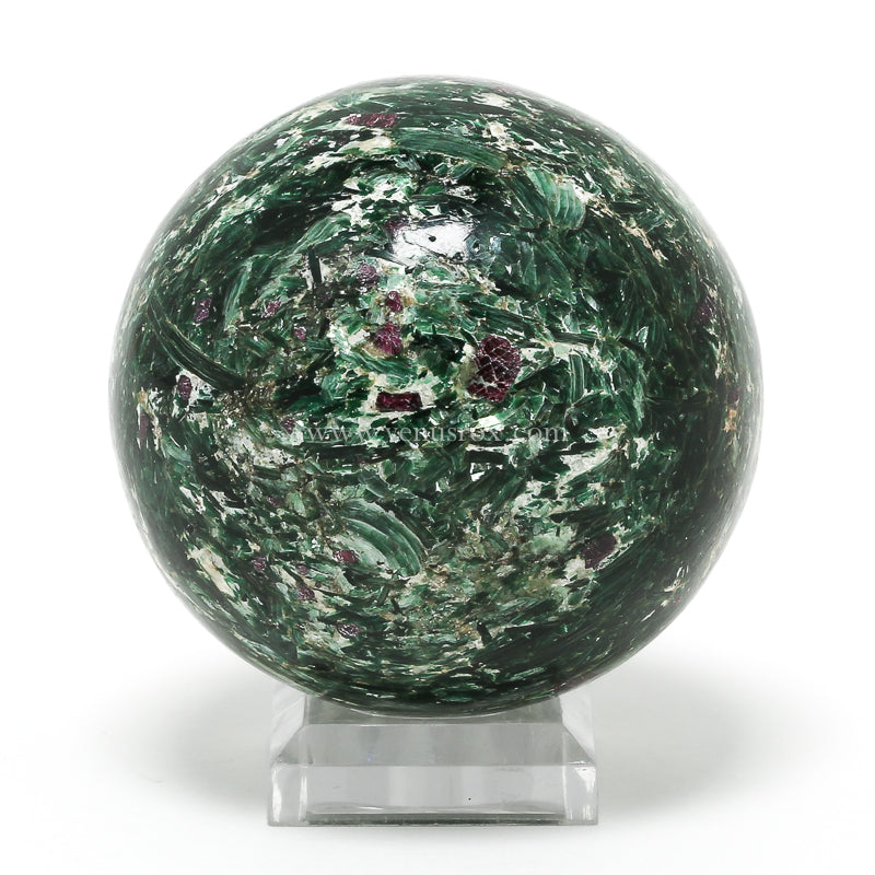 Ruby and Fuchsite Polished Sphere from Karnataka, India | Venusrox