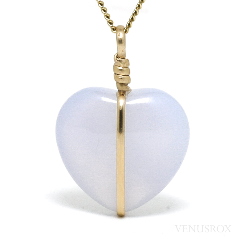 Blue Chalcedony Polished Heart Pendant from West Anatolia, Turkey | Venusrox