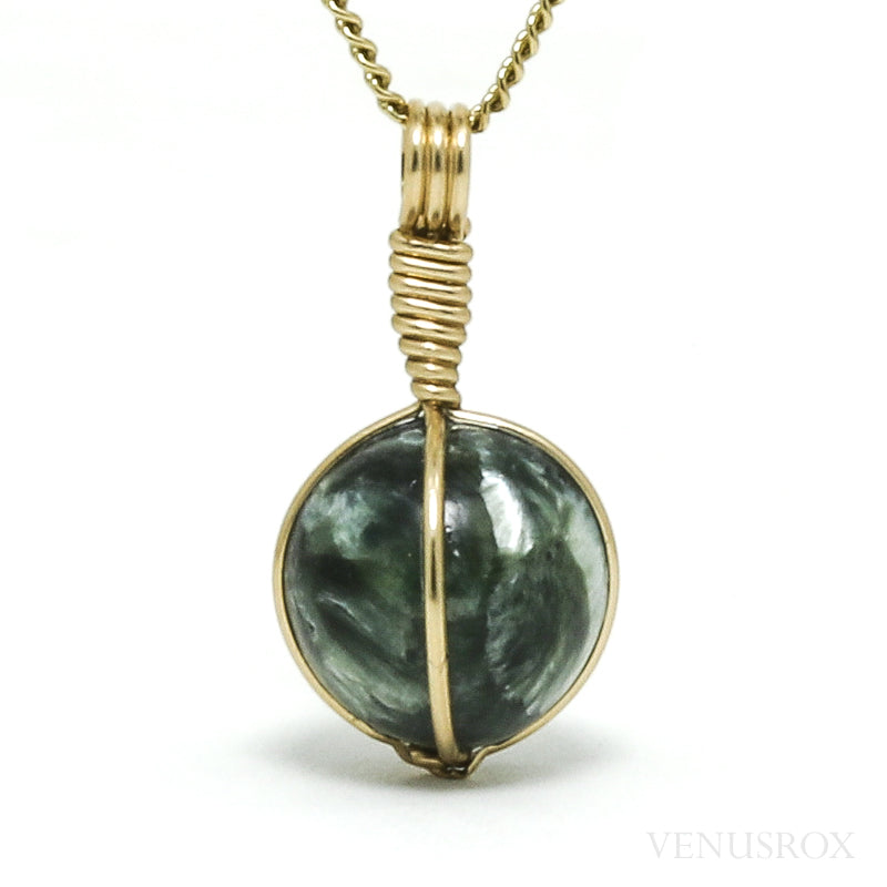 Seraphinite Polished Sphere Pendant from Siberia, Russia | Venusrox